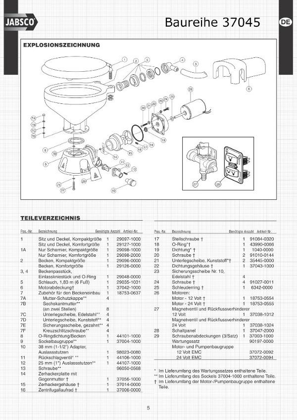 37045 Toilette Ersatzteile Zeichnung Servicekit Dichtungen