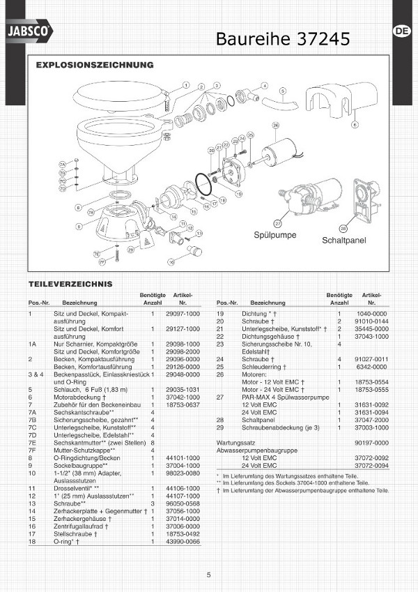 37245 Quit Flush Toilette Ersatzteile Zeichnung Servicekit Dichtungen