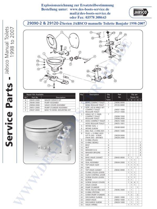29090-2000 29120-2000 Jabsco Toilette Ersatzteile